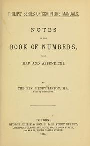 Cover of: Notes on the book of Numbers | Henry P. Linton