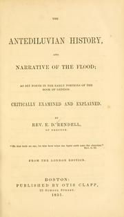 Cover of: The antediluvian history, and narrative of the flood by Elias De La Roche Rendell