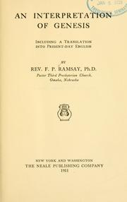 Cover of: An interpretation of Genesis, including a translation into present-day English | Franklin Pierce Ramsay