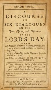 Cover of: A Discourse in six dialogues on the name, notion and observation of the Lord