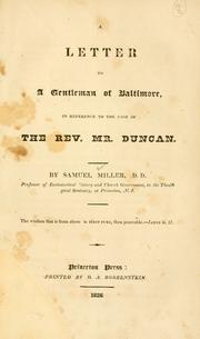 Cover of: A letter to a gentleman of Baltimore, in reference to the case of the Rev. Mr. Duncan