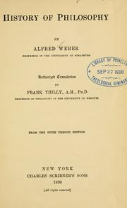 Cover of: History of philosophy | Weber, Alfred