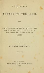 Cover of: Additional answer to the libel