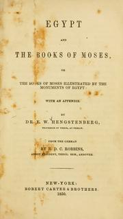 Cover of: Egypt and the books of Moses