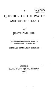 Cover of: question of the water and of the land |
