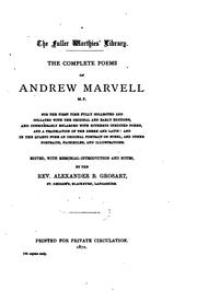 Cover of: The complete works in verse and prose of Andrew Marvell M.P