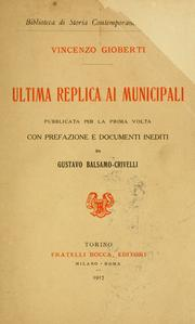Cover of: Ultima replica ai municipali