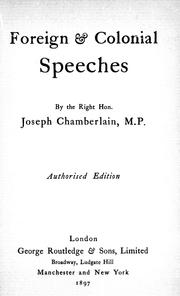 Cover of: Foreign & colonial speeches |
