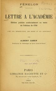 Cover of: Lettre à l'Académie