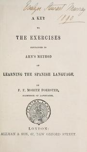 Cover of: key to the exercises contained in Ahn