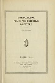 Cover of: International police, detective, sheriff, constable and identification directory, 1921- |