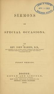 Cover of: Sermons on special occasions | Harris, John