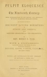 Cover of: Pulpit eloquence of the nineteenth century