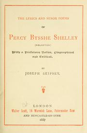 Cover of: The lyrics and minor poems of Percy Bysshe Shelley