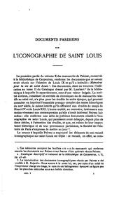 Cover of: Documents parisiens sur l'iconographie de S. Louis