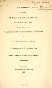 Cover of: An address delivered in Zion church at Easton, on the 4th of July, 1835