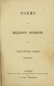Cover of: Poems on religious subjects. | Janet Douglas Fraser