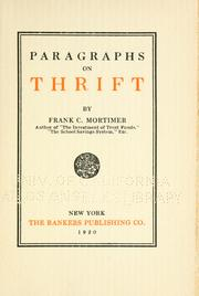 Cover of: Paragraphs on thrift | Frank Cogswell Mortimer