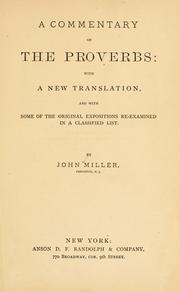 Cover of: A commentary on the Proverbs | Miller, John