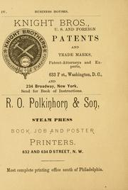 Cover of: B.H. Warner's popular guide book for Washington city ..