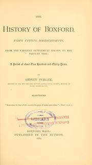 Cover of: The history of Boxford, Essex County, Massachusetts