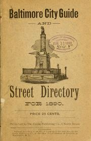 Cover of: Baltimore city guide and street directory for 1890 ... |