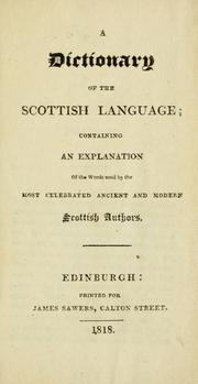 Cover of: A dictionary of the Scottish language