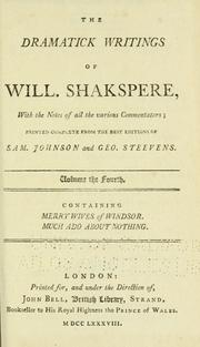 Cover of: The Dramatick Writings of Will. Shakspeare | William Shakespeare
