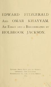 Cover of: Edward FitzGerald and Omar Khayyám