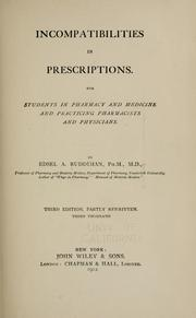Cover of: Incompatibilities in prescriptions | Edsel Alexander Ruddiman