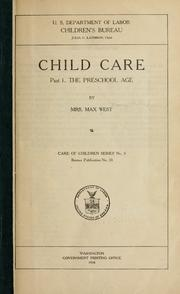 Cover of: Child care. | West, Max Mrs.