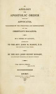Cover of: An apology for apostolic order and its advocates