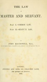 Cover of: The law of master and servant