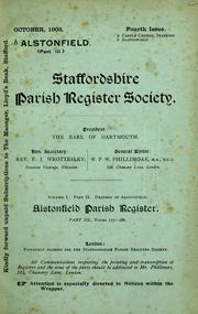 Cover of: Alstonfield parish register (1538-1812) by Alstonfield, Eng. (Parish)