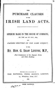 Cover of: The purchaseclauses of the Irish land acts