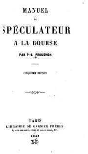 Cover of: Manuel du spéculateur à la bourse