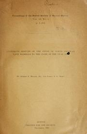 Cover of: Systematic results of the study of North American land mammals to the close of the year 1900