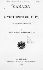 Cover of: Canada in the seventeenth century |