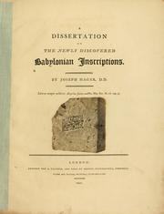 Cover of: A dissertation on the newly discovered Babylonian inscriptions