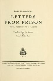Cover of: Letters from prison: with a portrait and a facsimile