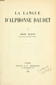 La langue d'Alphonse Daudet by Burns, Mary