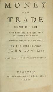 Cover of: Money and trade considered
