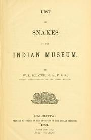 Cover of: List of snakes in the Indian Museum