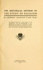 Cover of: The historical method in the study of religion