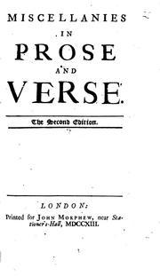 Cover of: Miscellanies in prose and verse