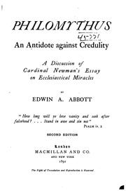 Cover of: Philomythus, an Antidote Against Credulity: A Discussion of Cardinal Newman's Essay on ..