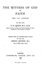 Cover of: The Witness of God and Faith: Two Lay Sermons