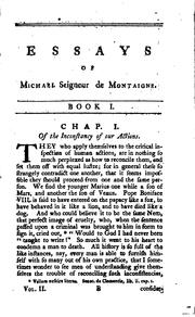 Cover of: The Essays of Michael Seigneur de Montaigne: Translated Into English