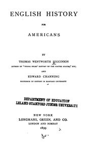 Cover of: English History for Americans