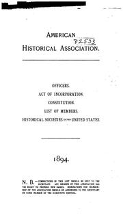 Cover of: Officers, Committees, Act of Incorporation, Constitution, Organization and Activities, List of ..
